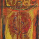 """78. Лукашевкер Александра """"Букет и блюдо"""" 1970-е Дерево, темпера 61,6х21,5"""