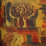 "79. Лукашевкер Александра ""Красный натюрморт"" 1970 Дерево, темпера 153х150"