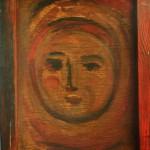 "80. Лукашевкер Александра ""Портрет в красном"" 1970 Дерево, темпера 48х31"