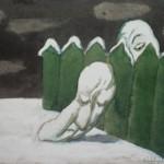 """14. Пивоваров Виктор """"Из цикла """"Меланхолики"""". Зелёный забор"""" 1988 Бумага, акварель, уголь, белила 25,3х32"""