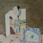 """16. Пивоваров Виктор """"Из цикла """"Меланхолики"""". Глаз"""" 1987 Бумага, акварель, уголь 25,2х32,7"""