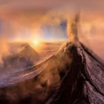 """AirPano """"Вулкан Ключевская Сопка в закатных лучах солнца, высота 5000 метров"""""""