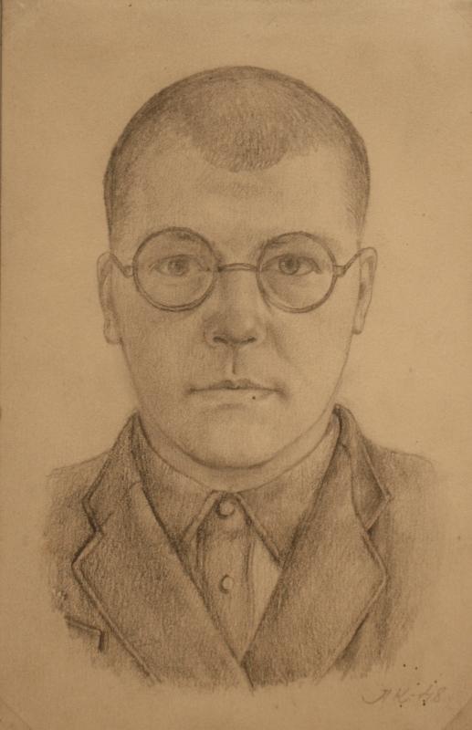 """Л.Кропивницкий """"Автопортрет"""" 1948 г.Балхаш, Степлаг"""
