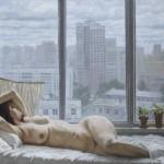 """Гелий Коржев """"Серое утро. Обнаженная на фоне окна"""" 2006"""