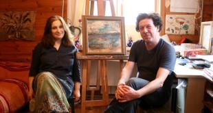 В мастерской художника. Александр и Анна Мессереры.