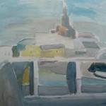 """39. Ларин Юрий """"Пейзаж с мостом и высотным зданием"""" 1998 Холст, масло 100х100"""