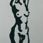 """64. Ларин Юрий """"Набросок с обнажённой моделью"""" 1970 Бумага, тушь, кисть 41,5х19"""