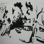 """66. Ларин Юрий """"Переяславский пейзаж"""" 1974 Бумага, тушь, кисть 40х49,5"""