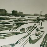 """67. Ларин Юрий """"На Северной Двине"""" 1975 Бумага, сепия, кисть 30х42,3"""
