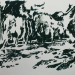 "68. Ларин Юрий ""Река Хасынка"" 1977 Бумага, тушь, тростник, перо, кисть 41х49,5"