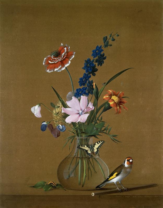 """Ф.П.Толстой """"Букет цветов, бабочка и птичка"""" 1820"""