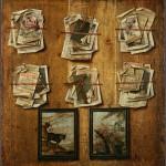 """Неизвестный художник второй половины XVIII века """"Натюрморт. Листы из книг и картинки"""" 1783"""