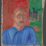 """М.Ф.Ларионов """"Портрет мужчины в синем на фоне красной стены"""" Начало 1910-х"""