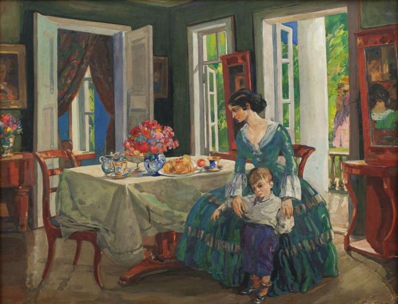 """Николай Шестопалов """"Семья в интерьере"""" 1910-е"""