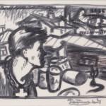 """Оскар Рабин """"Набросок с портретом В.Н.Некрасова"""" 1964"""