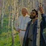 """Марат Самсонов """"Н.С. Хрущев и Ф. Кастро в березовой роще"""" Начало 1960-х"""