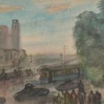 "А.Лабас ""Ташкент. На улице. Верблюды и танки"" 1943"