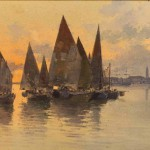 """Альберт Бенуа """"Лодки на закате"""" 1890-1900-е"""