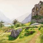 """Альберт Бенуа """"Альпийский пейзаж с руинами башни"""" 1890-1900-е"""