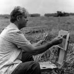 Павел Гречишкин на этюдах, 1985