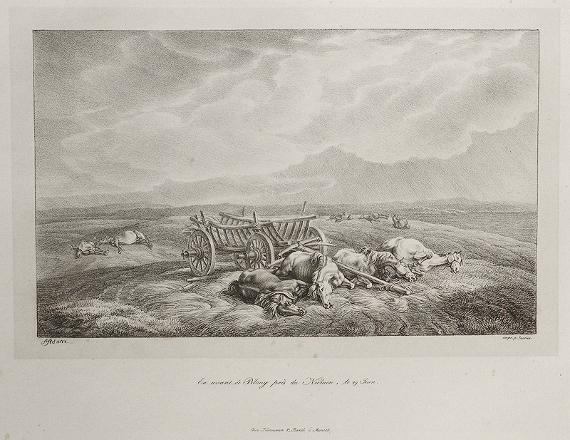 """""""Перед Пилонью, близ Немана. 29 июня 1812 года» Литография А. Адама, 1827-1833"""