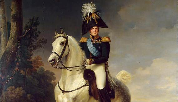 """Франц Крюгер """"Александр I на лошади Эклипс, подаренной ему Наполеоном в 1808 году, на которой Александр I въехал в Париж в 1814 году"""" (фрагмент) Собрание Государственного Эрмитажа"""