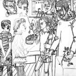 """10. Сергей Мягких """"День рождения"""" 1980 Бумага, тушь, перо Ставропольский краевой музей изобразительных искусств"""