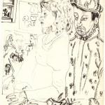 """13. Сергей Мягких """"Из иллюстраций к стихотворениям Пикассо"""" 1980 Бумага, тушь, перо"""
