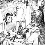 """20. Сергей Мягких """"Проводы"""" 1980 Бумага, тушь, перо Ставропольский краевой музей изобразительных искусств"""