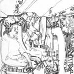 """4. Сергей Мягких """"Аэропорты и самолеты, а в них люди. Ночной рейс. Большой самолет"""" 1980 Бумага, тушь, перо Ставропольский краевой музей изобразительных искусств"""