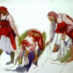 Зинаида Серебрякова «Вариант композиции картины «Беление холста» Около 1917