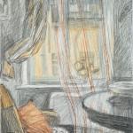 """Шишмарева Т.В. """"Интерьер с прозрачными занавесками"""" 1975"""