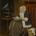 """Габриэл Метсю """"Девушка за вышиванием"""" Около 1661–1664"""
