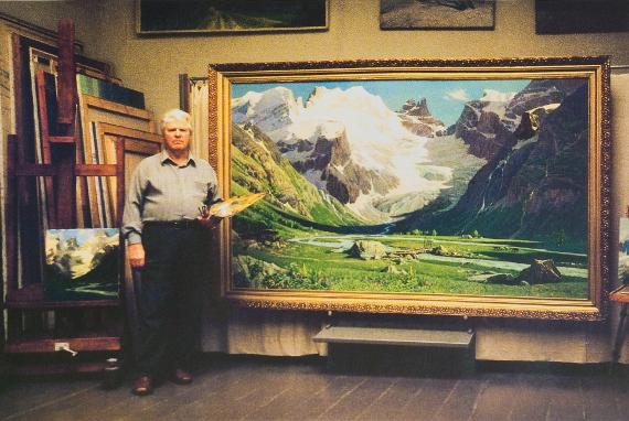П.М. Гречишкин в мастерской.