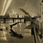 "Мстислав Добужинский ""Ночь на Темзе. Лондон"" 1935"