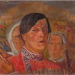 """Борис Григорьев """"Автопортрет с курицей и петухом"""" 1920-е"""