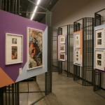 Экспозиция выставки. Киноплакаты и театральные эскизы.