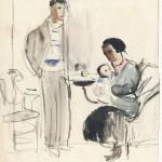 """Александр Лабас """"Автопортрет с семьёй"""" 1933 Собрание семьи художника"""