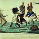 """Иван Теребенев """"Наполеон спускает змея"""" Карикатура. 1813-1814"""