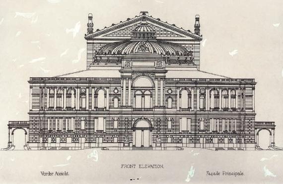Ф. Фельнер, Г. Гельмер «Проект Театра оперы и балета в Одессе» 1883. Главный фасад. Фоторепродукция