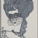 """Надя Рушева """"Иллюстрация к повести """"Пиковая дама"""". Московская Венера в Париже"""" 1967"""