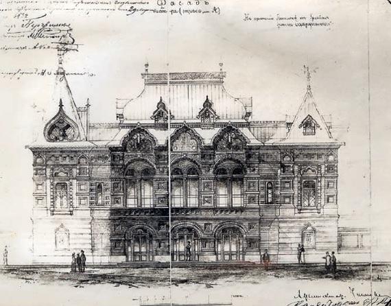 М. Н. Чичагов «Проект Театра Корша в Москве» 1885. Фасад. Фоторепродукция