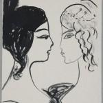 """Надя Рушева """"Две женские головки в профиль с прическами пушкинского времени a la Natalie"""""""
