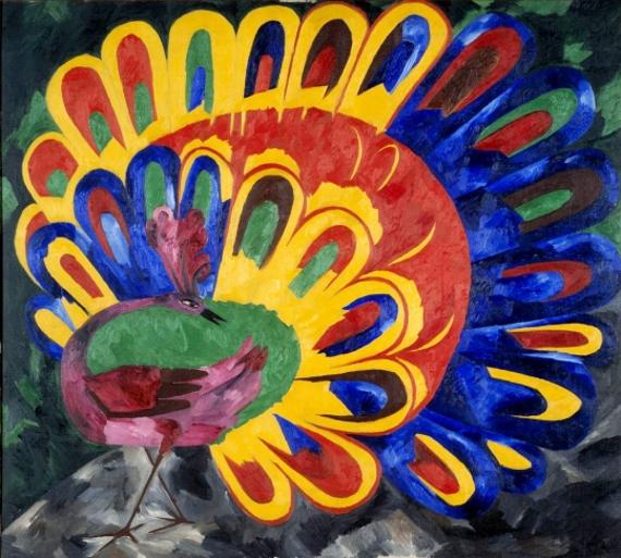 Н.С. Гончарова «Павлин под ярким солнцем (стиль египетский)» 1911 Собрание Государственной Третьяковской галереи
