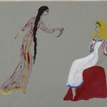 """Надя Рушева """"Иллюстрация к поэме """"Бахчисарайский фонтан"""". """"Зарема и Мария"""" 1963"""