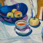 """Адольф Гаранин """"Натюрморт с яблоками и чаем"""" 1975"""