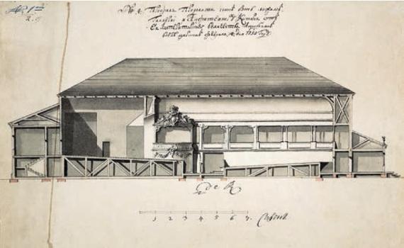 Ф. Б. Растрелли «Театр в саду «Променад». Продольный разрез» 1750