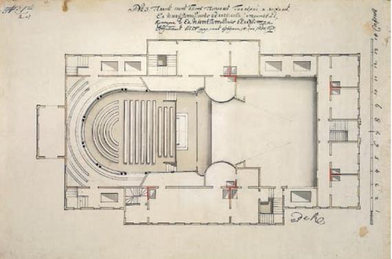 Ф. Б. Растрелли «Театр в саду «Променад». План» 1750