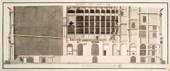 Обмер театра в Зимнем дворце в Санкт-Петербурге («Оперный дом»). Продольный разрез, вторая половина XVIII века