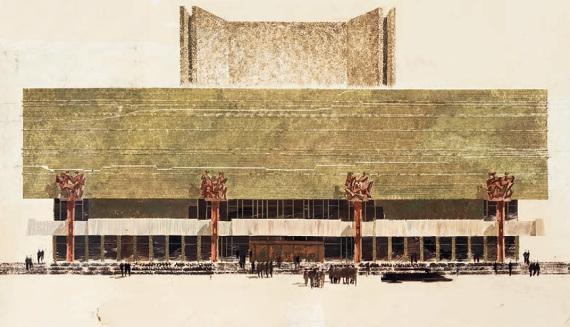В. С. Кубасов «Проект нового здания МХАТа на Тверском бульваре в Москве. Главный фасад» 1972–1973.